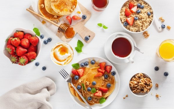 Alimento Desayuno Baya Arándano Fresa Jugo Panqueque Bodegón Fruta Fondo de pantalla HD | Fondo de Escritorio