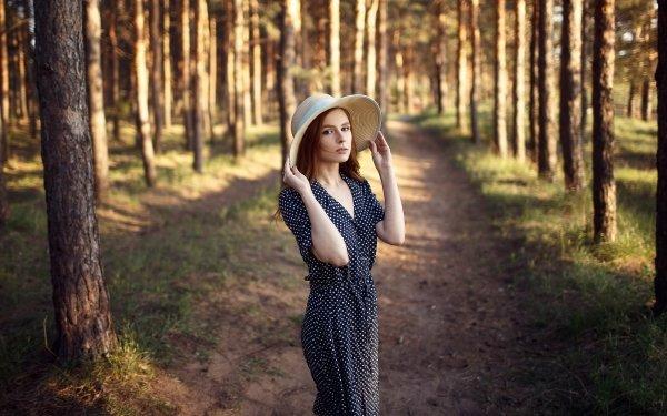 Women Model Models Redhead Dress Depth Of Field Hat HD Wallpaper | Background Image