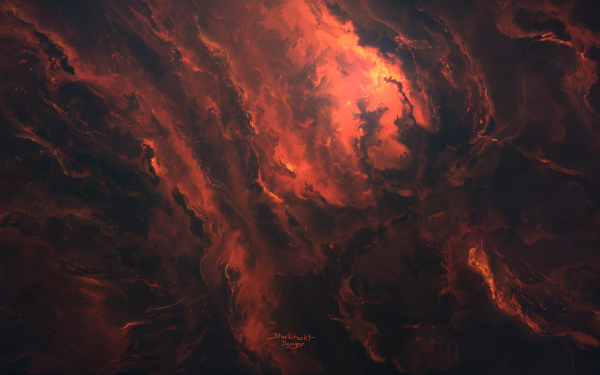 Sci Fi Nebula Space orange Abstract HD Wallpaper | Background Image
