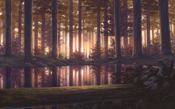 Anime Original Tree Lake Forest HD Wallpaper   Background Image