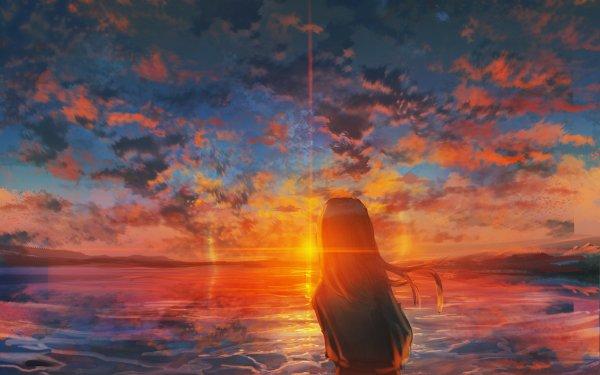 Anime Original Girl Sky Sunset Lake Cloud HD Wallpaper   Background Image