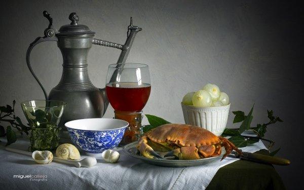 Food Still Life Crab Onion Wine HD Wallpaper | Background Image