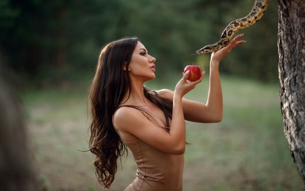 Women Mood Apple Snake HD Wallpaper | Background Image