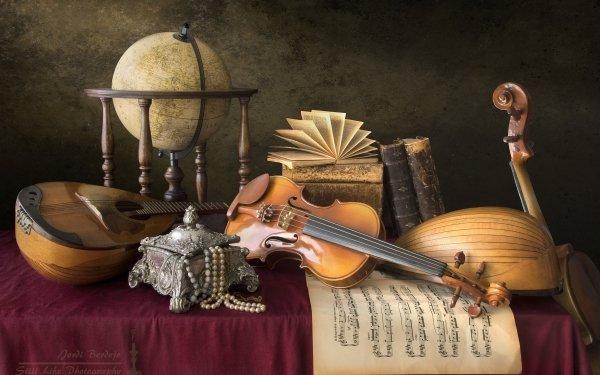 Photography Still Life Mandolin Sheet Music Violin Book Necklace Globe HD Wallpaper | Background Image
