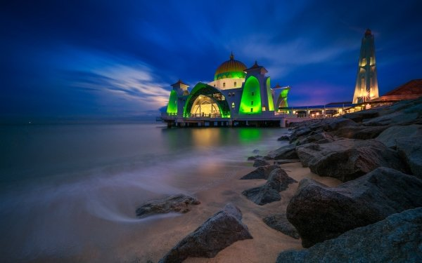 Religious Malacca Straits Mosque Mosques Malaysia HD Wallpaper   Background Image