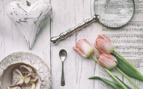Photography Vintage Magnifying Glass Tulip Spoon Heart Sheet Music HD Wallpaper | Background Image