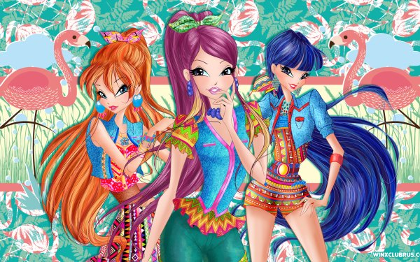 TV Show Winx Club Bloom Musa Roxy Long Hair Red Hair Purple Hair Two-Toned Hair HD Wallpaper   Background Image