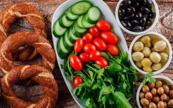 Food Vegetables Bagel Olive Breakfast Tomato Cucumber HD Wallpaper | Background Image