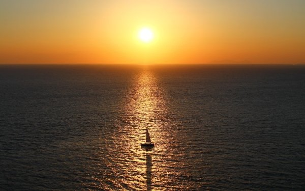 Vehicles Sailboat Sea Sun Ship Reflection Horizon Sail HD Wallpaper | Background Image