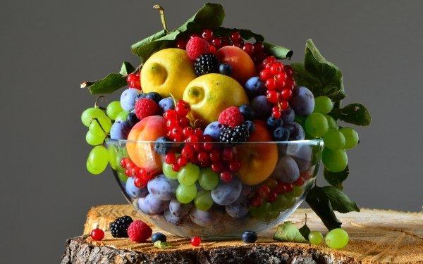Food Still Life Blueberry Blackberry Raspberry Plum Nectarine Grapes Lemon Currants HD Wallpaper   Background Image