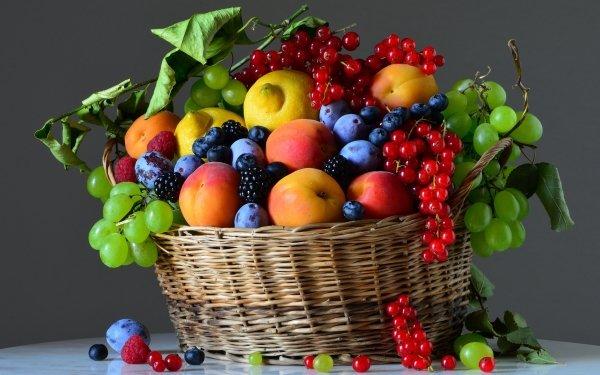 Food Still Life Blueberry Blackberry Raspberry Plum Grapes Lemon Currants Apricot HD Wallpaper   Background Image