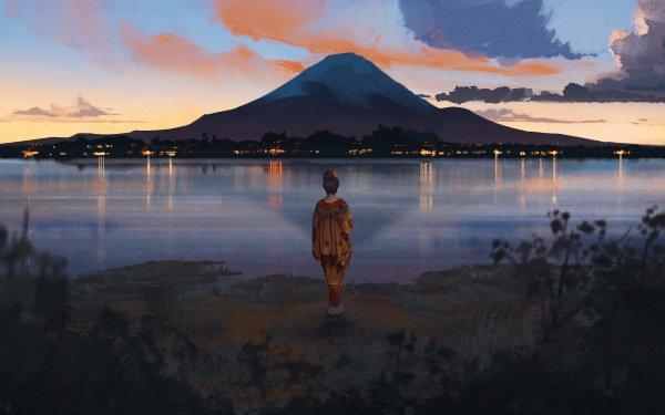 Anime Original Lake Mountain HD Wallpaper | Background Image