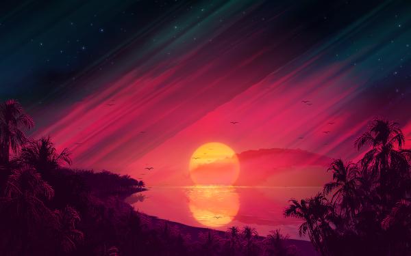 Artistic Sunset Beach Palm Tree Sky HD Wallpaper   Background Image
