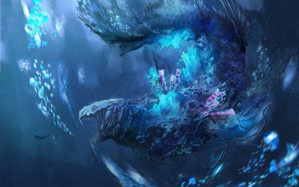 Anime Original Sea Monster HD Wallpaper   Background Image