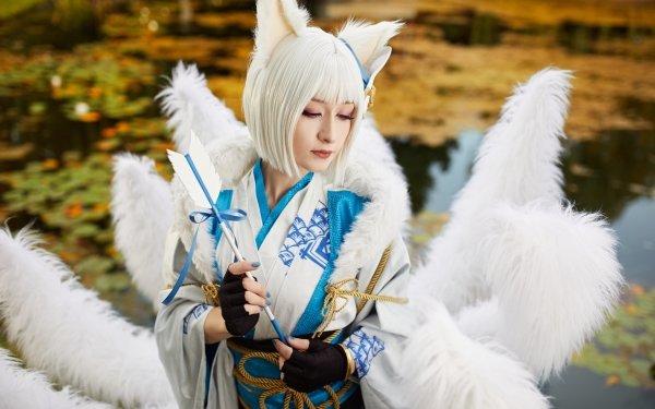 Women Cosplay Kimono Azur Lane Kaga White Hair HD Wallpaper | Background Image