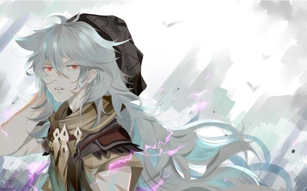 Video Game Genshin Impact Razor Grey Hair Red Eyes HD Wallpaper | Background Image