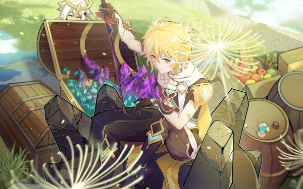 Videospel Genshin Impact Aether Paimon HD Wallpaper | Achtergrond