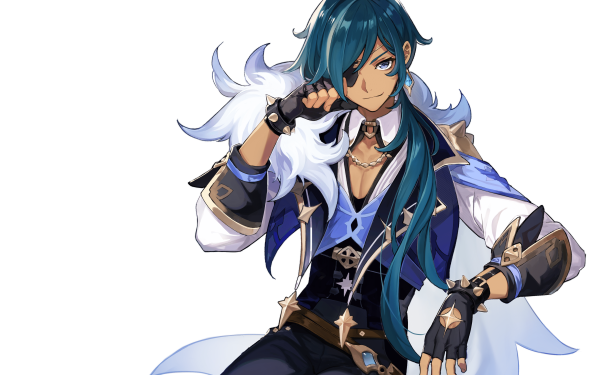 Videospel Genshin Impact Kaeya Blue Hair Eye Patch HD Wallpaper | Achtergrond