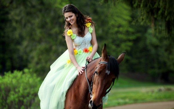 Women Mood Girl Horse Equestrian Dress Smile Model HD Wallpaper | Background Image