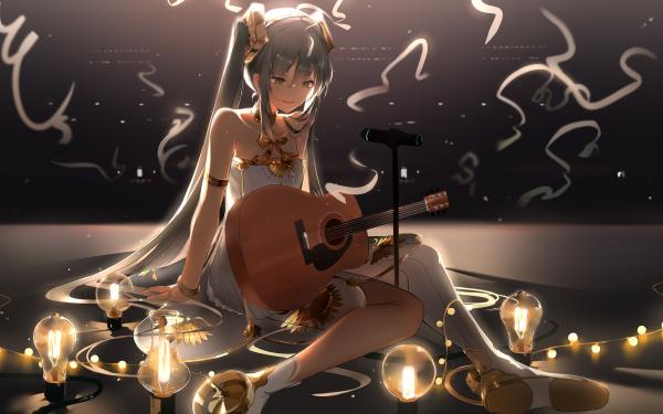 Anime Vocaloid Hatsune Miku Guitar Instrument Long Hair HD Wallpaper | Background Image