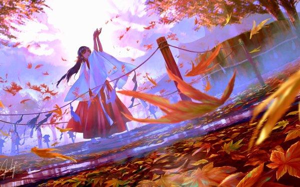Anime Original Fall Foliage Yukata Long Hair HD Wallpaper | Background Image