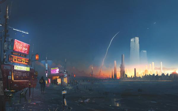 Sci Fi Futuristic Cityscape Rocket HD Wallpaper | Background Image