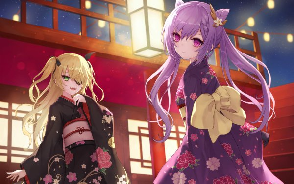 Videospel Genshin Impact Fischl Keqing Purple Hair Pink Eyes Green Eyes Blond Kimono Eye Patch HD Wallpaper | Achtergrond
