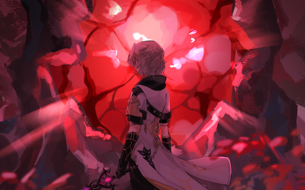 Videospel Genshin Impact Albedo Dragonspine HD Wallpaper   Achtergrond