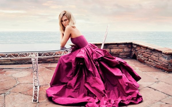 Women Model Models Sea Purple Dress HD Wallpaper   Background Image