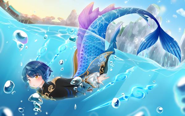 Video Game Genshin Impact Xingqiu Merman HD Wallpaper | Background Image
