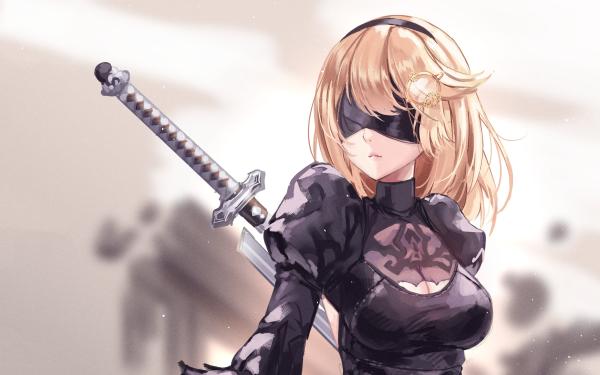 Anime Crossover Watson Amelia YoRHa No.2 Type B Virtual Youtuber NieR: Automata HD Wallpaper | Background Image