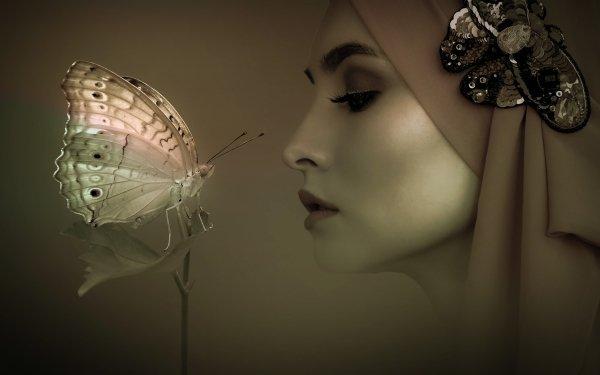 Women Artistic Profile Head Moth Sepia HD Wallpaper | Background Image