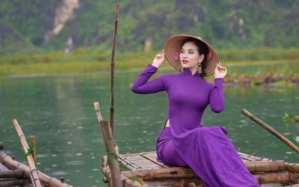 Women Asian Model Purple Dress Asian Conical Hat Depth Of Field HD Wallpaper | Background Image
