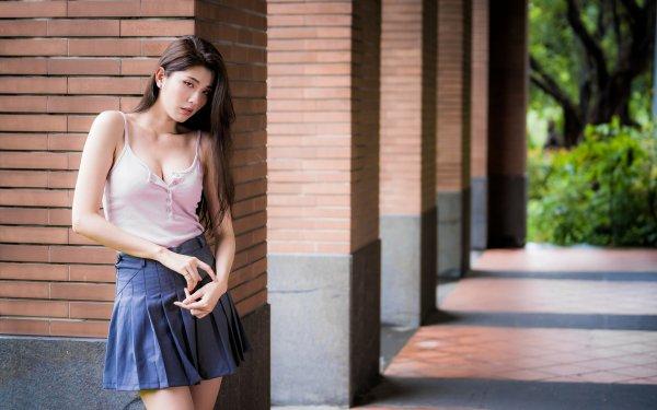 Women Asian Model Brunette Skirt Long Hair HD Wallpaper | Background Image
