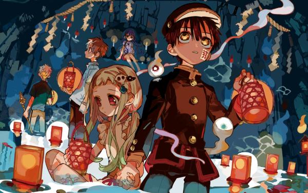 Anime Jibaku Shounen Hanako-kun Aoi Akane Hanako-kun Kou Minamoto Yashiro Nene Fondo de pantalla HD | Fondo de Escritorio