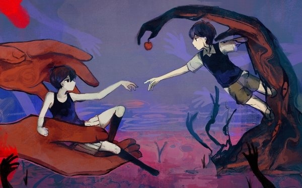 Video Game OMORI Omori Sunny Boy Hand Black Hair Apple Shorts Socks HD Wallpaper | Background Image
