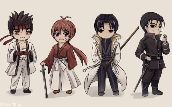 Anime Rurouni Kenshin Aoshi Shinomori Kenshin Himura Sanosuke Sagara Saitou Hajime HD Wallpaper | Background Image