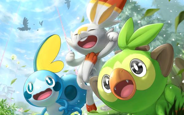 Anime Pokémon Corviknight Scorbunny Grookey Rookidee Eldegoss Fondo de pantalla HD | Fondo de Escritorio