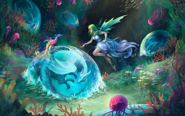 Fantasy Fairy Girl Dragon Underwater Green Hair Seahorse HD Wallpaper | Background Image
