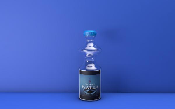 Man Made Bottle Glass Water 3D CGI Digital Art HD Wallpaper | Background Image