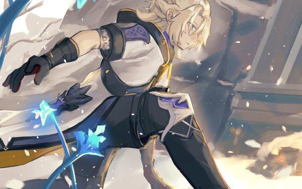 Videospel Genshin Impact Albedo Blond Blue Eyes HD Wallpaper   Achtergrond