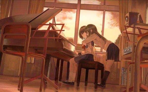Anime Girl Yuri School Uniform HD Wallpaper | Background Image