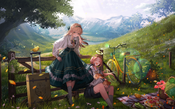 Anime Girl Bicycle Blonde HD Wallpaper | Background Image
