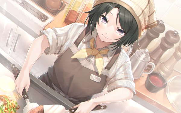 Anime Girl Black Hair Cooking HD Wallpaper | Background Image