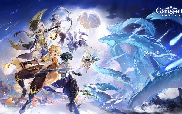 Videospel Genshin Impact Aether Ganyu Keqing Ningguang Paimon Xiao HD Wallpaper | Achtergrond