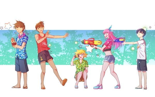 Video Game OMORI Kel Sunny Basil Aubrey Hero Omori Water Gun Sandal Shorts Shirt Blonde Brown Hair Pink Hair Camera HD Wallpaper | Background Image