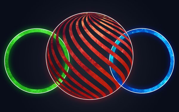 Artistic Circle Sphere Red Blue Green HD Wallpaper | Background Image