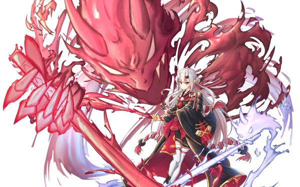 Anime Virtual Youtuber Hololive Nakiri Ayame White Hair Red Eyes Horns HD Wallpaper   Background Image