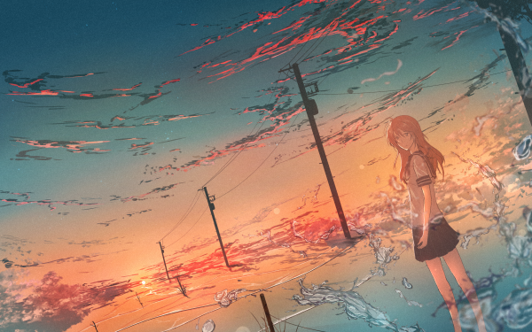 Anime Girl School Uniform Power Line Sunset Sky HD Wallpaper | Background Image
