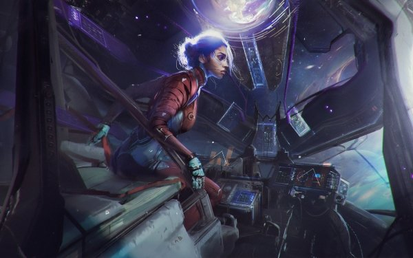 Sci Fi Women Pilot Futuristic HD Wallpaper   Background Image